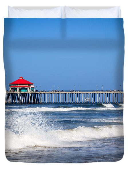 Huntington Beach Pier Photo Duvet Cover by Paul Velgos