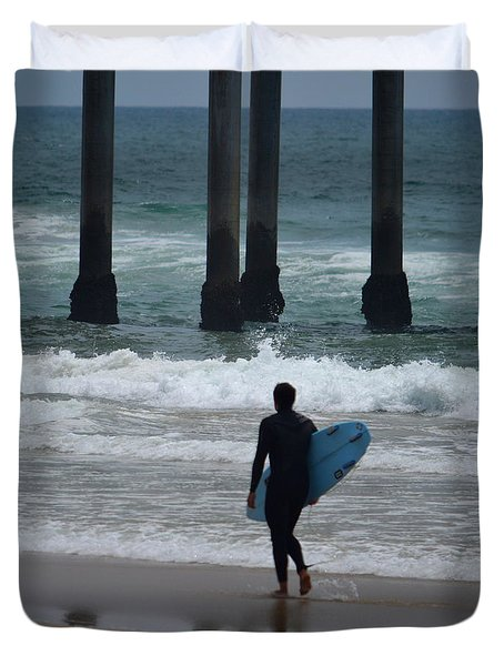Huntington Beach Pier Surfer Duvet Cover