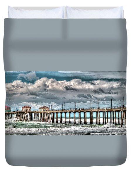 Huntington Beach Winter 2017 Duvet Cover by Jim Carrell