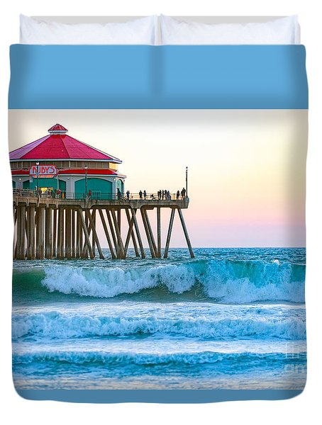 Duvet Cover featuring the photograph Huntington Pier by Anthony Baatz