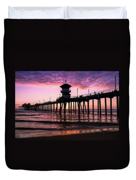Huntington Pier At Sunset 2 Duvet Cover