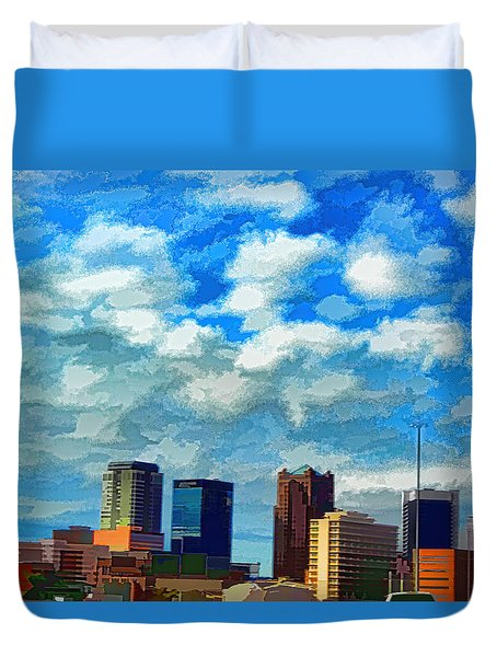 Huntsville Alabama Skyline Abstract Art Duvet Cover