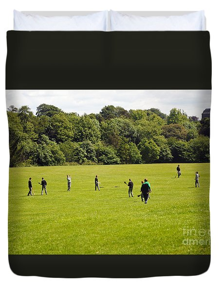 Hurling Practice Duvet Cover by Cindy Murphy - NightVisions