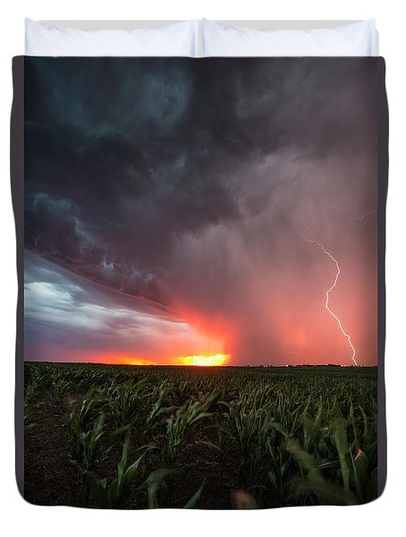 Duvet Cover featuring the photograph Huron Lightning  by Aaron J Groen
