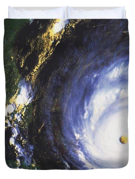 Hurricane Floyd Duvet Cover by NASA / Science Source
