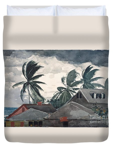 Hurricane In Bahamas Duvet Cover by Winslow Homer