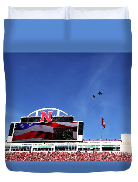 Husker Memorial Stadium Air Force Fly Over Duvet Cover