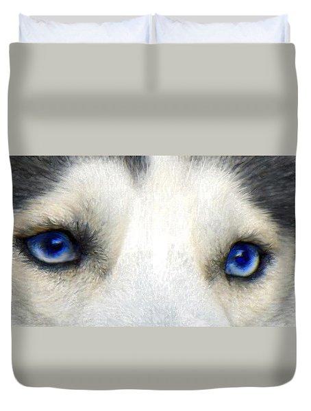 Husky Eyes Duvet Cover by Jane Schnetlage