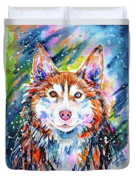 Duvet Cover featuring the painting Husky by Zaira Dzhaubaeva
