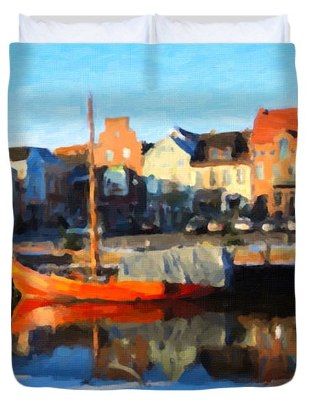 Duvet Cover featuring the painting Husum, Germany by Chris Armytage