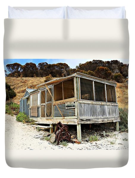 Duvet Cover featuring the photograph Hut At Western River Cove by Stephen Mitchell