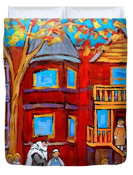 Hutchison Street Sabbath In Montreal Duvet Cover by Carole Spandau