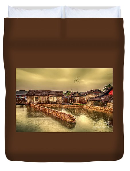 Duvet Cover featuring the photograph Huts 2 by Charuhas Images