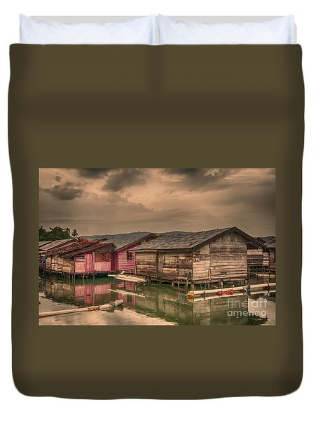 Duvet Cover featuring the photograph Huts In South Sulawesi by Charuhas Images