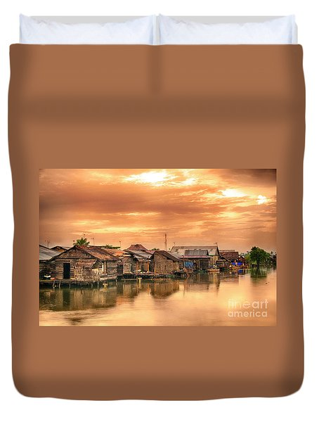 Duvet Cover featuring the photograph Huts On Water by Charuhas Images