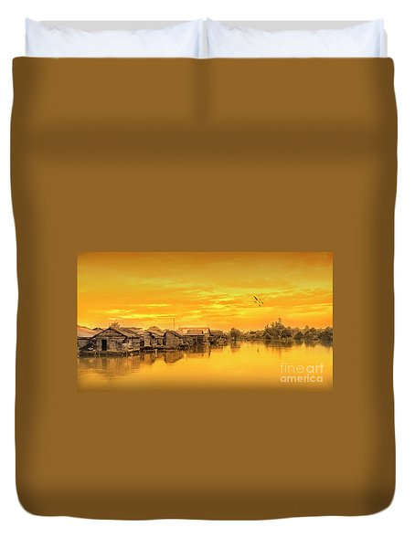 Duvet Cover featuring the photograph Huts Yellow by Charuhas Images