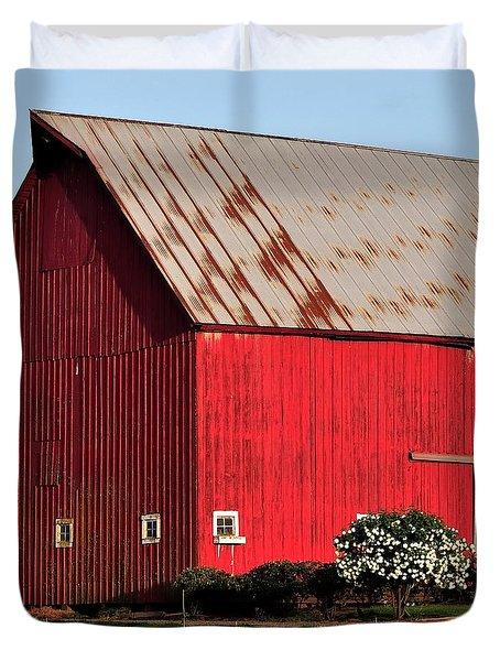 Hwy 47 Red Barn 21x21 Duvet Cover