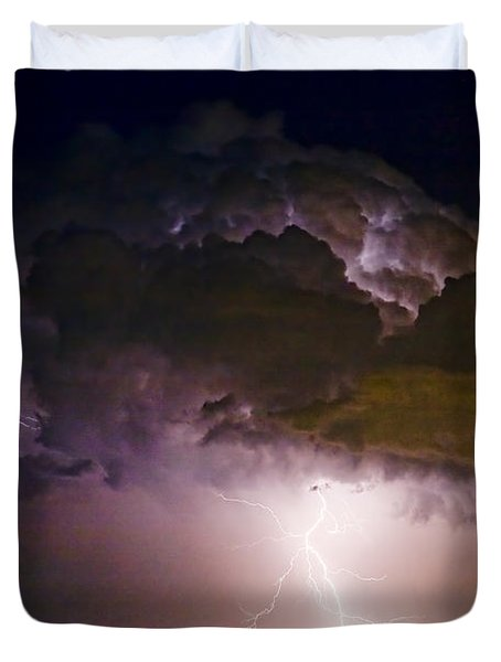 Hwy 52 - 08-15-2010 Lightning Storm Image 42 Duvet Cover by James BO  Insogna