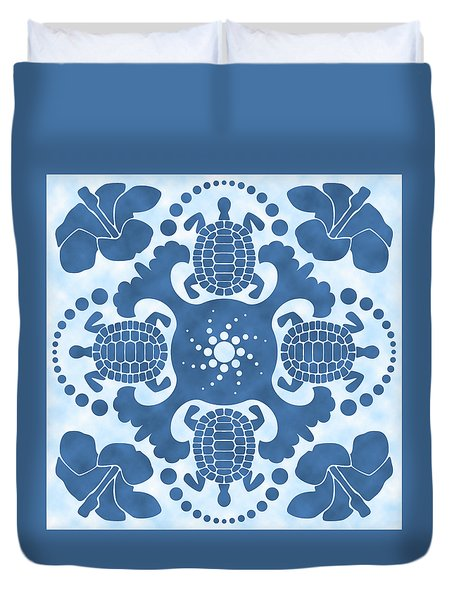 Hybiscus And Turtle Hawaiian Quilt Block Duvet Cover