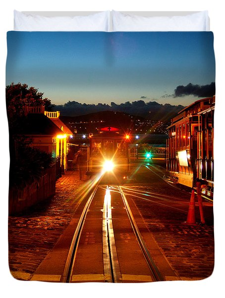 Hyde Street Cable Car Twilight Duvet Cover by Wernher Krutein