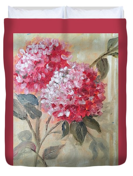 Duvet Cover featuring the painting Hydranga by Sharon Schultz