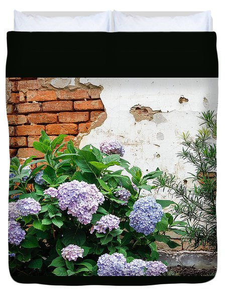 Hydrangea And Bricks Duvet Cover