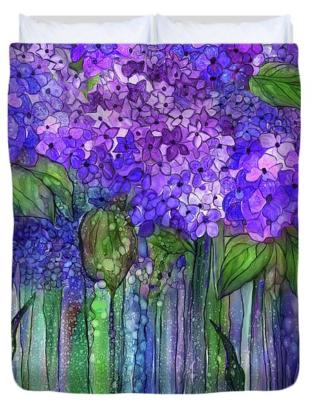 Duvet Cover featuring the mixed media Hydrangea Bloomies 1 - Purple by Carol Cavalaris