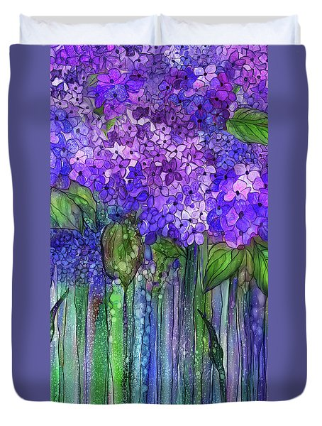 Duvet Cover featuring the mixed media Hydrangea Bloomies 2 - Purple by Carol Cavalaris
