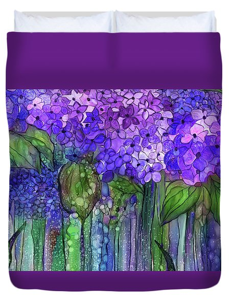Duvet Cover featuring the mixed media Hydrangea Bloomies 3 - Purple by Carol Cavalaris