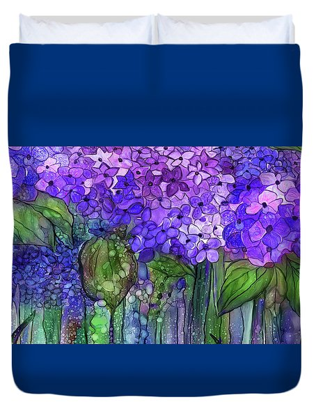 Duvet Cover featuring the mixed media Hydrangea Bloomies 4 - Purple by Carol Cavalaris