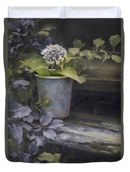 Duvet Cover featuring the mixed media Hydrangea Eve by Robin-Lee Vieira