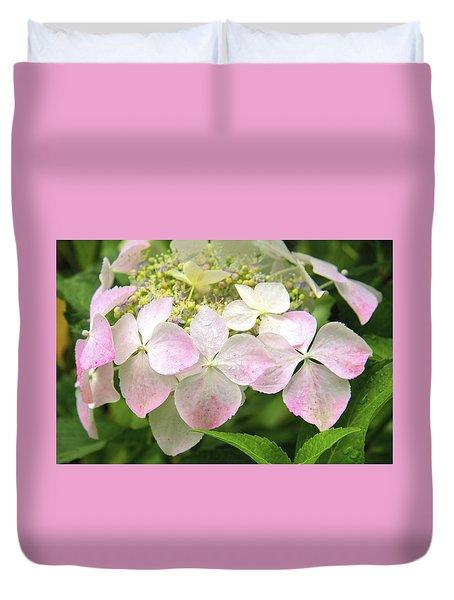 Hydrangea Flowers, Sprinkled Pink. Duvet Cover