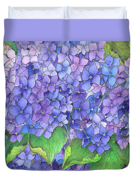 Hydrangea Purple Blue Duvet Cover