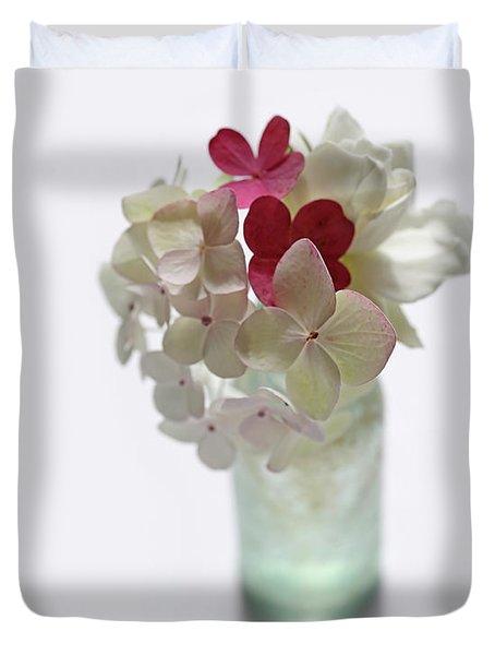 Hydrangeas And Gardenia In Aqua Glass Bottle Duvet Cover