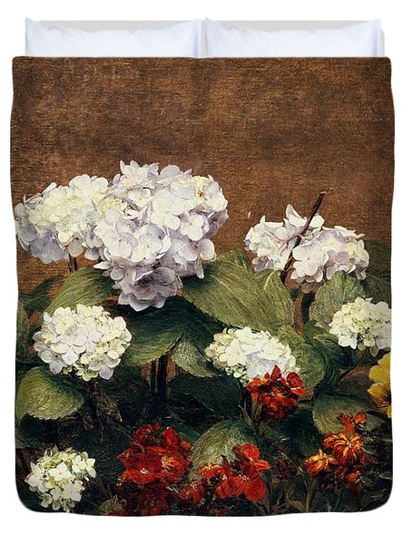 Hydrangeas And Wallflowers And Two Pots Of Pansies Duvet Cover by Henri Jean Fantin-Latour