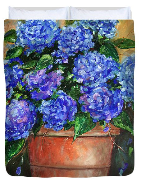 Hydrangeas In Pot Duvet Cover by Jennifer Beaudet