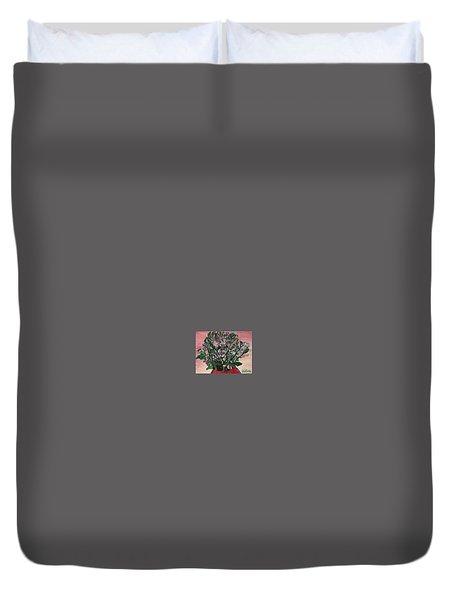 Hydrangeas In Red Vase Duvet Cover