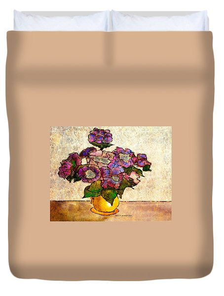 Hydrangeas In Yellow Jug Duvet Cover