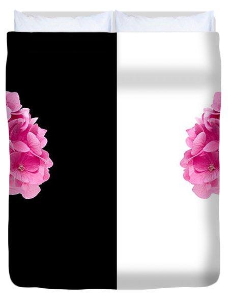 Hydrangeas On Black And White Duvet Cover