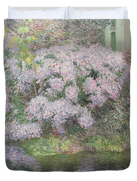 Hydrangeas On The Banks Of The River Lys Duvet Cover by Emile Claus