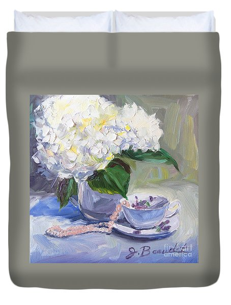 Hydrangeas With Pearls  Duvet Cover