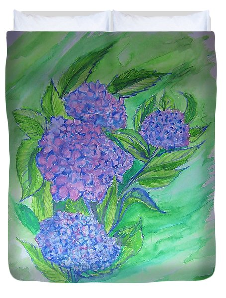Duvet Cover featuring the painting Hydrangea by Cathy Long