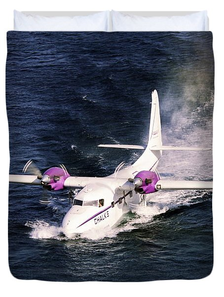 Hydroplane Splashdown Duvet Cover by Sally Weigand
