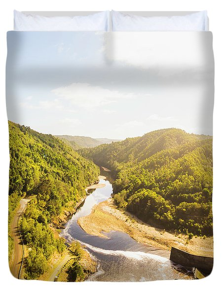 Hydropower Valley River Duvet Cover