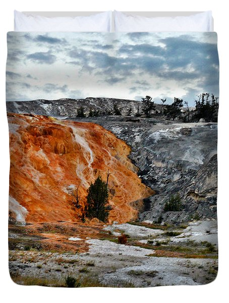 Hymen Terrace At Mammoth Hot Springs - Yellowstone National Park Wy Duvet Cover by Christine Till