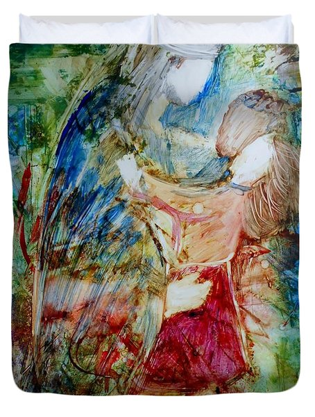 Duvet Cover featuring the painting I Am A Child Of God by Deborah Nell