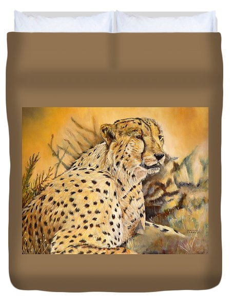 I Am Cheetah Duvet Cover by Marilyn  McNish