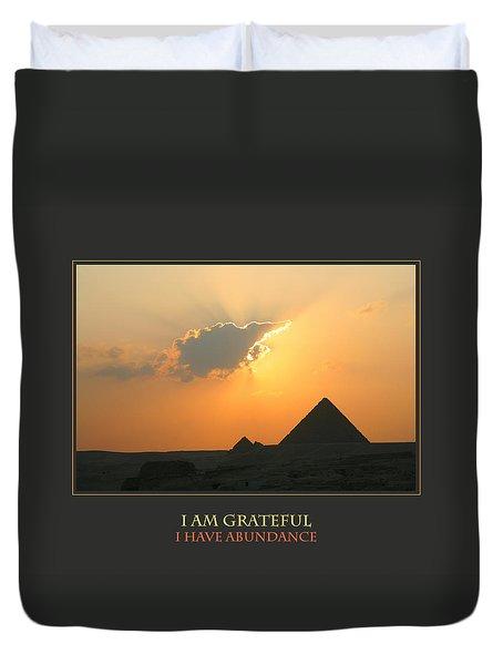 I Am Grateful I Have Abundance Duvet Cover by Donna Corless