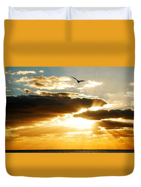 Duvet Cover featuring the photograph Gods Glorious Morning by James Kirkikis