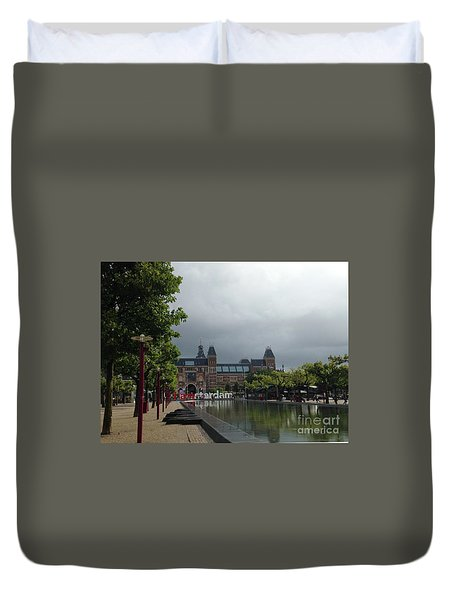 Duvet Cover featuring the photograph I Amsterdam by Therese Alcorn
